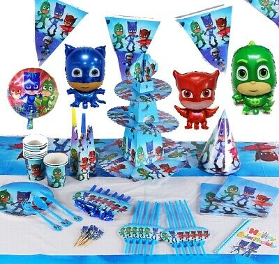 Pj Masks Birthday Party Table Cover Plates Cups Napkins Balloons Masks Buntings