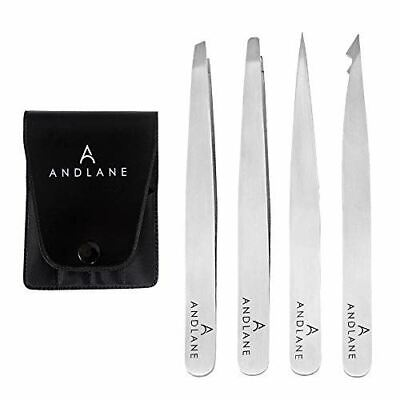 Flat Pointed Hair Tweezers Set Stainless Steel Eyebrow Plucker 4Pc Slant Tweezer