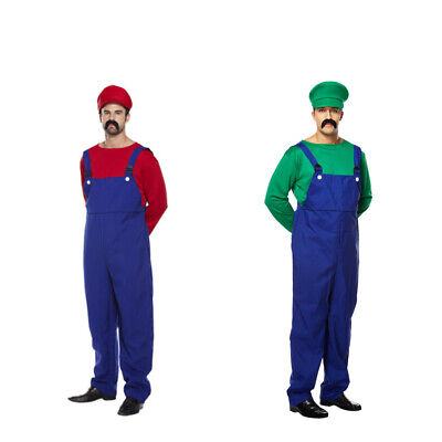 Mens Adult Super Mario Plumber Fancy Dress Costume Workman Funny Retro Outfit