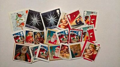 20 Unfranked First Class Christmas Stamps (With Slight Faults)
