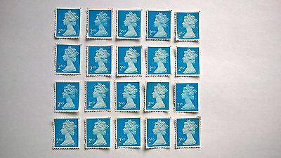 10 Unfranked Second Class Blue Security Stamps (Off Paper - No Gum)