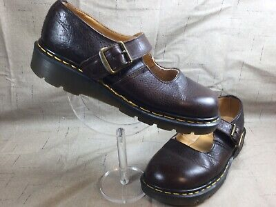 Women's Dr Martens England size 7 Brown Mary Jane Single Buckle Shoes [SB103]