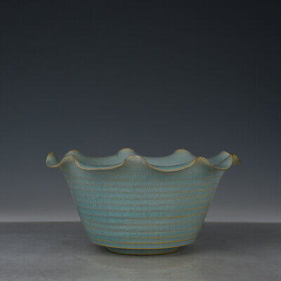 "8"" Chinese old Porcelain Song ru kiln sky cyan glaze Ice crack flower mouth bowl"