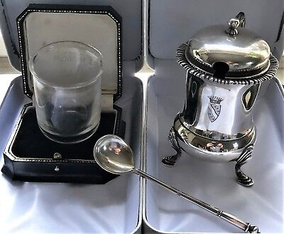 """Antique French Paris Sterling Silver Mustard  Pot Tetard Freres """"Crest"""" Crystal"""