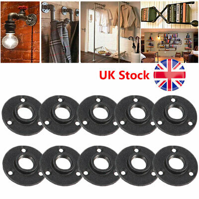"""1/2"""" 3/4"""" Wall Mounted Threaded Floor Malleable Flange Pipe Fitting Black DIY"""