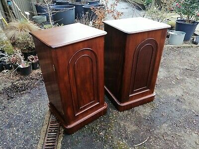 Pair Of Victorian Mahogany Pedestal Cupboards, Bedside Cabinets