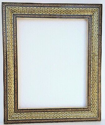 Antique Picture Frame Mosaic Inlay Wood Brass Bone Middle Eastern