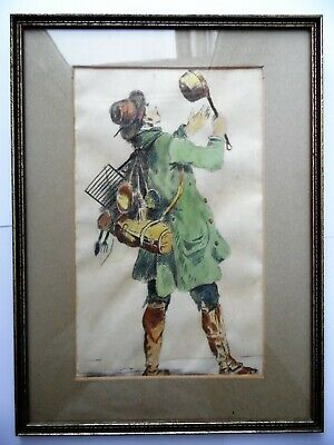 Hand Painted Water Colour Of An 18Th Century Tradesman Ironmonger Framed Picture