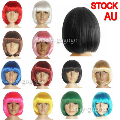 Women Short Straight BOB Sleek Hair w/ Bang Synthetic Cosplay Wig Wigs Party AU