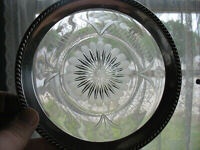 "VINTAGE  6"" CRYSTAL GLASS CUT FLORAL PLATE & STERLING SILVER RIM by WATSON J43"