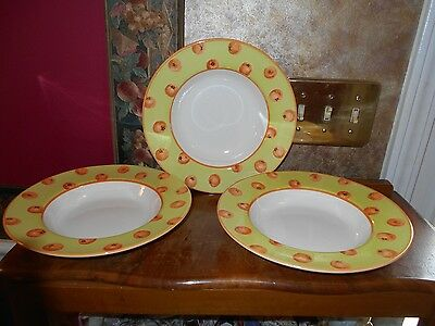 "Lot of 3 Royal Stafford Tomatoes Pomegranate Fine Earthenware 8"" rimmed bowl"