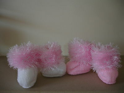 Brand New Hand Knitted Newborn Baby Fluffy Bootees #Pretty#