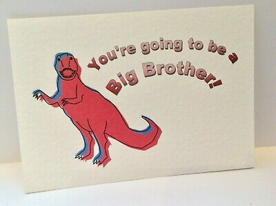 PREGNANCY ANNOUNCEMENT /  REVEAL  card - Brother, Sister,Cousin - Dinosaur