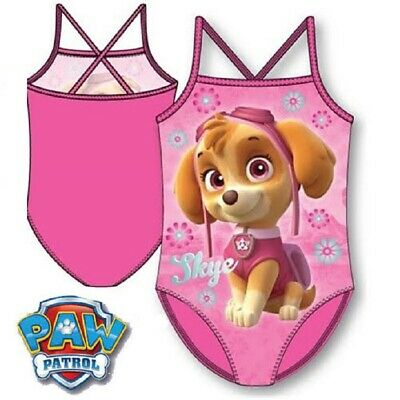 Girls Pink Paw Patrol Skye Swimsuit All in One Swimming Costume School Swimwear