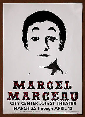 Marcel Marceau Rare Vintage Original City Center NY Promotional Poster from 1975