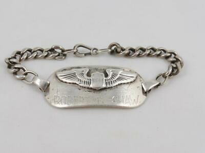 WW2 Sterling Silver US Army Air Force Pilots Identity Bracelet Robert T Shaw