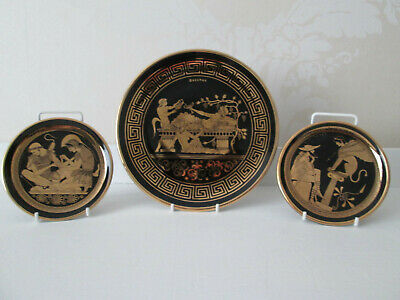 Greek Display Plates ~ Hand Made ~ Black with 24k gold Classic Design.