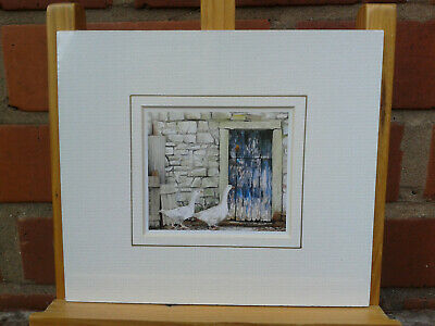 Andrew Boult. Charming small mounted print of farmyard geese. BNIP