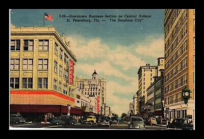Dr Jim Stamps Us St Petersburg Florida Central Avenue View Linen Postcard