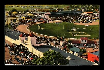 Dr Jim Stamps Us Florida Fair Grounds Tampa Florida Air View Linen Postcard