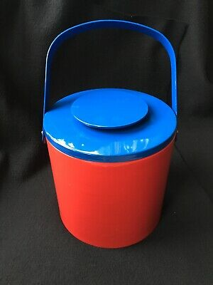Vintage Georges Briard Ice Bucket With Tongs, Red & Blue, 3 Piece, Retro, EUC!
