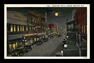Dr Jim Stamps Us Linen Postcard Ybor City Florida 7Th Avenue Night View