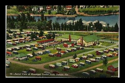 Dr Jim Stamps Us Municipal Trailer Park Air View Tampa Florida Linen Postcard