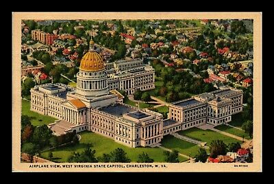 Dr Jim Stamps Us Postcard West Virginia State Capitol Charleston Linen Air View