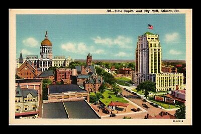 Dr Jim Stamps Us Linen Postcard Atlanta Georgia State Capitol And City Hall