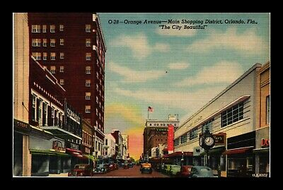 Dr Jim Stamps Us Orange Avenue Orlando Florida Linen Postcard