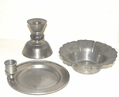 PEWTER 3 Candlestick Collection Vintage Metal France Art DECO Antique Bowl Lot