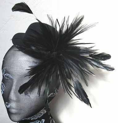 black feather mini top hat fascinator headpiece fancy dress party hair clip
