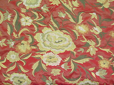 "Fantastic Red Silk Brocade Lampas High End Fabric Remnant 21"" x 57"""