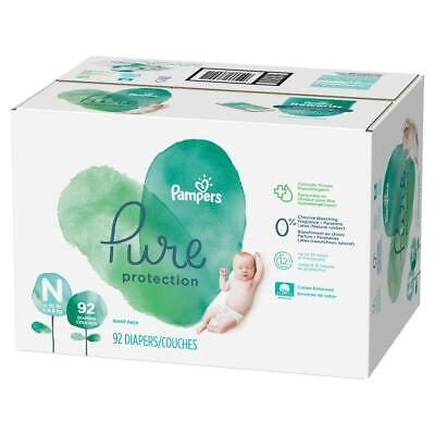 Pampers Pure Protection Disposable Diapers Newborn (0-10lbs) + Baby Wipes