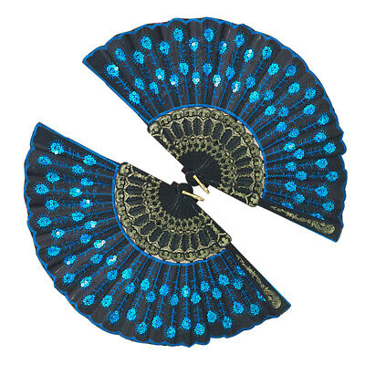 Peacock Pattern Folding Hand Fan Embroidered Sequin for Party Wedding Dance