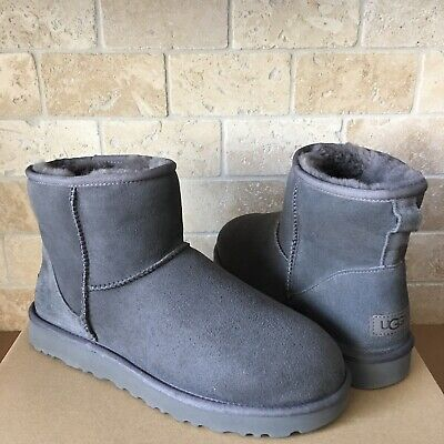 79aa47a8d6d UGG CLASSIC MINI Gray Grey Violet Glitzy Suede Sheepskin Boots Size ...