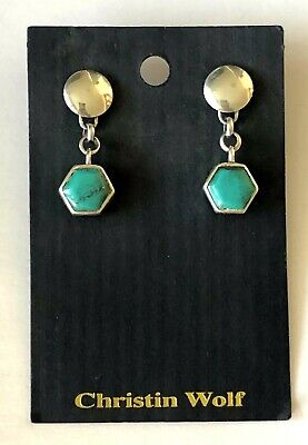 Christin Wolf REVERSIBLE Hexagon Sterling Native American Turquoise Jet Earrings