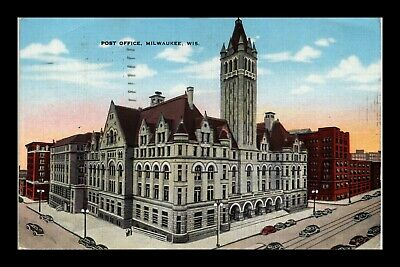 Dr Jim Stamps Us Postcard Post Office Milwaukee Wisconsin Linen