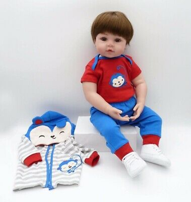 """Realistic 18"""" Silicone Reborn Dolls Real Life Handmade Toddler Babies Boy Toys"""