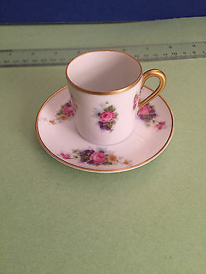 ROSENTHAL Selb-Bavaria gilded demitasse cup and saucer w/flowers BEAUTIFUL