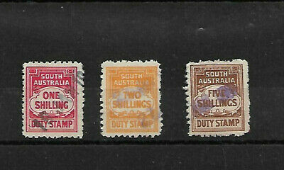 South Australia Duty Stamps.  1/-, 2/-,  5/-.  All Used.