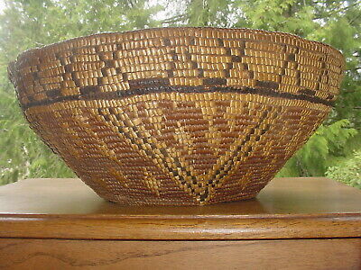 Large Old 19Th C.puget Sound Suquamish Indian Hard Basket