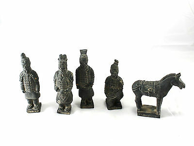 Vintage Chinese Terracotta Soldier Warrior Horse Mini Statue Figurine Set 5Pc