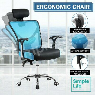 PU Leather Racing Chair Adjustable Breathable Office Computer Gaming Chair Blue