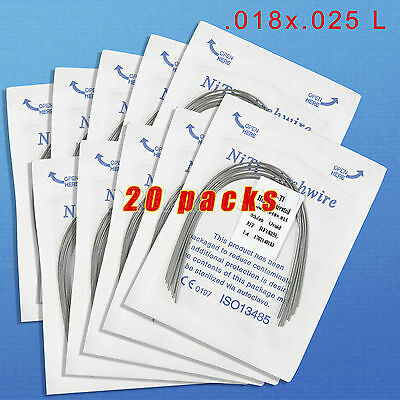 20 Dental Ortho Heat Thermal Activated Niti Rectangular Arch Wire 18X25L RWHY