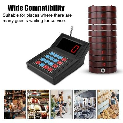 Wireless Calling System 10 Call Restaurant Coaster Pager Paging Queuing System G