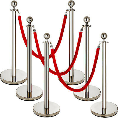 6Pcs Queue Barrier Posts Stainless Steel Crowd Control Poles SIMPLE TO HANDLE