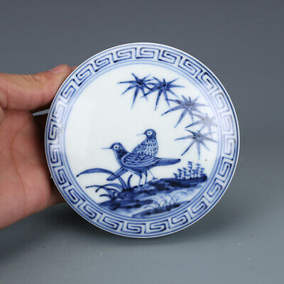 "3"" Chinese old antique Porcelain Ming xuande mark blue white flower bird Ink box"