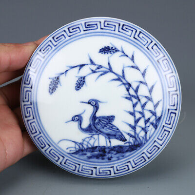 "3"" Chinese old Porcelain Ming xuande mark blue white double bird Rouge box"
