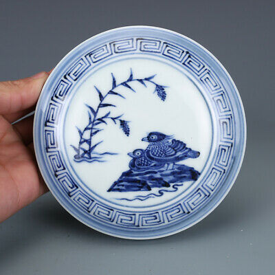 "4"" Chinese old Porcelain Ming xuande mark blue white Mandarin Duck Rouge box"